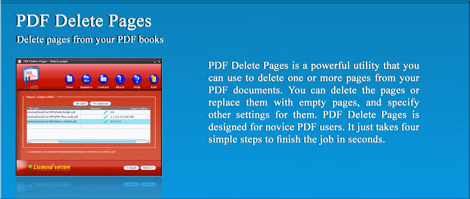 PDF Delete Pages | PDF Delete Pages is a powerful utility that you can use to delete one or more pages from your PDF documents. You can delete the pages or replace them with empty pages, and specify other settings for them. PDF Delete Pages is designed for novice PDF users. It just takes four simple steps to finish the job in seconds.