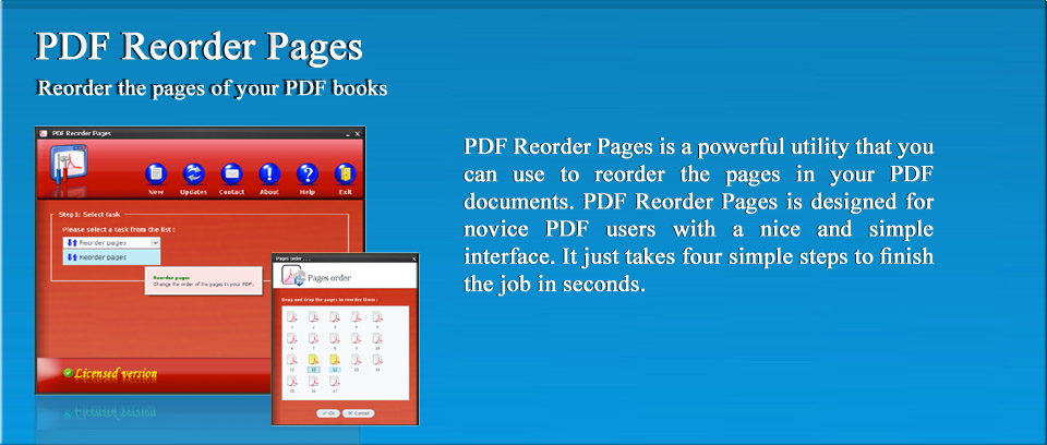 PDF Reorder Pages | PDF Reorder Pages is a powerful utility that you can use to reorder the pages in your PDF documents. PDF Reorder Pages is designed for novice PDF users with a nice and simple interface. It just takes four simple steps to finish the job in seconds.